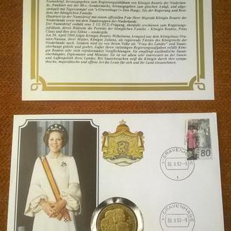 Нидерланды 2 1/2 экю ( ecu ) 1992 UNC : Королева Нидерландов Биатрис + конверт + сертификат