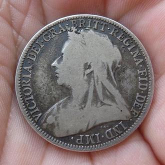 Великобритания Флорин - 2 шиллинга 1900 Виктория  Серебро Нечастая!