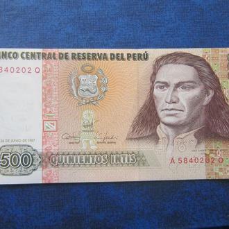 банкнота 500 инити Перу 1987 UNC пресс