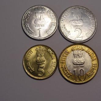 Индия тигры набор монет UNC 4шт. животные
