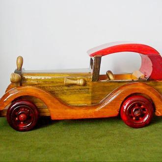 №249.1 Миниатюрная коллекционная старинная модель авто КАБРИОЛЕТ дерево лак ручная работа Германия