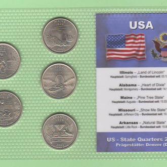 Набор квотер ов США 2003 D - пластик блистер запайка