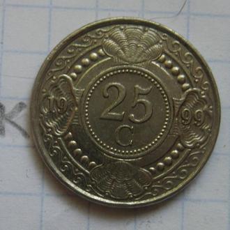 НИДЕРЛАНДСКИЕ АНТИЛЬСКИЕ ОСТРОВА, 25 центов 1999 года.