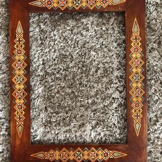 гуцульська різьба деревянная дерев'яна рамка для картини старовинна 38*27 см (№939)