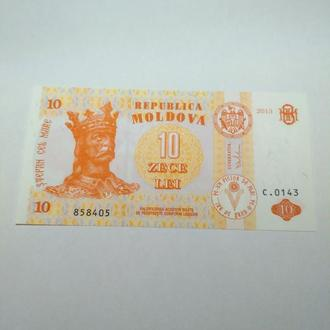 10 лей, Молдова, 2013, пресс, unc, оригинал