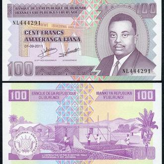 Бурунди, 100 франков, 2011 г. UNC Пресс