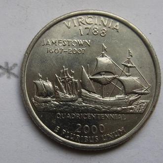США, 25 центов 2000 года (ШТАТ ВИРДЖИНИЯ).