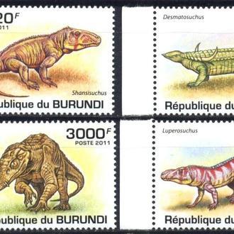 Бурунди 2011 ** Фауна Динозавры Крокодилы серия MNH