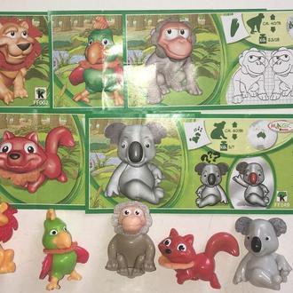 Киндер. Серия FF животные: попугай, коала, обезьяна, лев, лиса 5 шт + 5 вкл