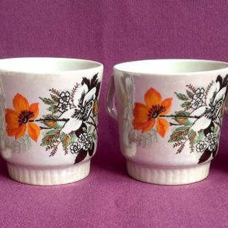 Чашки Оранжевый цветочек. 4 шт. Фарфор.