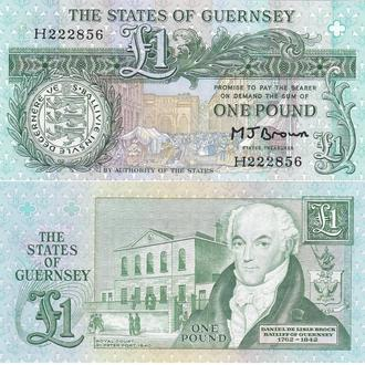 Guernsey Гернси - 1 Pound 1980 - 1989  sign. Brown  UNC JavirNV