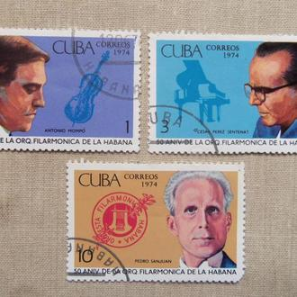 марки- с 1 гр Куба--(А3) - гашеные 1974 год--Музыканты