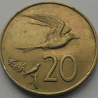 О-ва Кука, 20 центов 1972 год Никель, дм. 28,52 мм. тираж 31 000