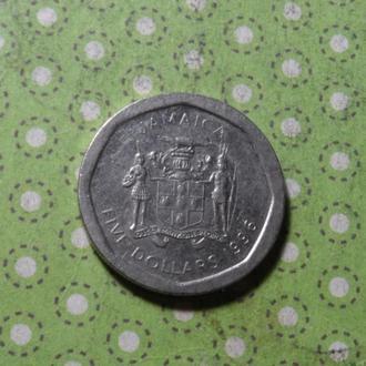Ямайка 1996 год монета 5 долларов