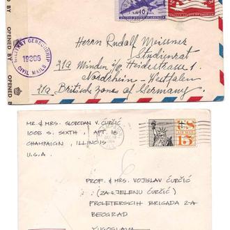 Авиация . США 1946 и 1964 г - 2а конверта - цензор -