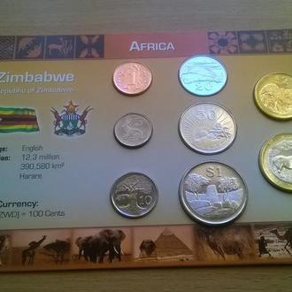 Набор монет ЗИМБАБВЕ пластик картон блистер запайка набір ЗІМБАБВЕ