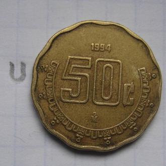 МЕКСИКА 50 сентаво 1994 года.