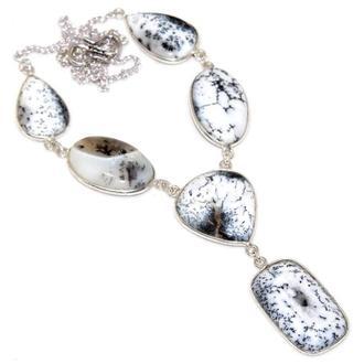 Серебряное колье дендрический опал, ожерелье дендритовый опал