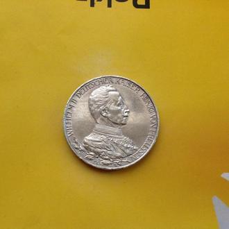 Пруссия 3 марки 1913 г. Серебро.