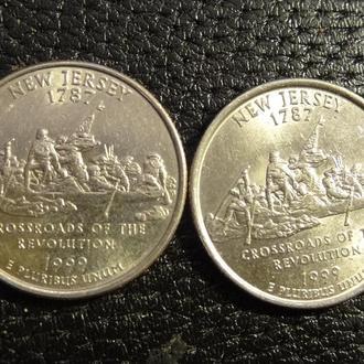 25 центів США 1999 Нью-Джерсі (два різновиди)