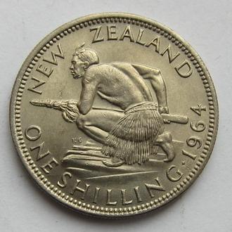 Новая Зеландия 1 шиллинг 1964 (KM#27.2) *Воин Маори*