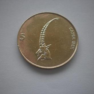 Словенія. 5 толаров. 1998 рік. Фауна. Козел. Повна деталізація.