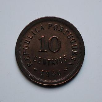 Португалия 10 сентаво 1940 г., AU-UNC