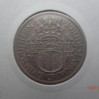 """Южная Родезия 1/2 кроны 1949 George VI """"Crowned shield"""" отличное состояние очень редкая"""