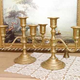 Два бронзовых каминных подсвечника на три свечи, бронза, Германия 0033 пд