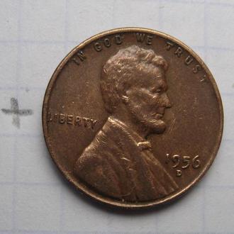 """США, 1 цент 1956 г. """"Д""""."""