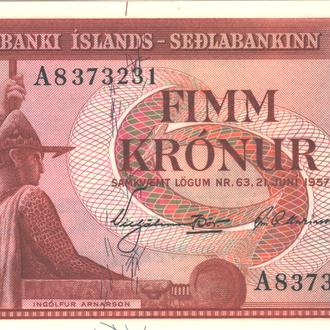 Исландия 5 крон 1957г. в UNC