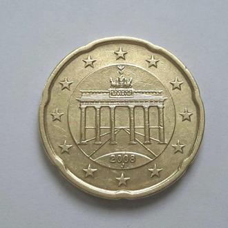 Германия. 20 евроцентов 2008 год (J) Гамбург.