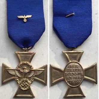 Крест За верную службу в полиции. цв. золото