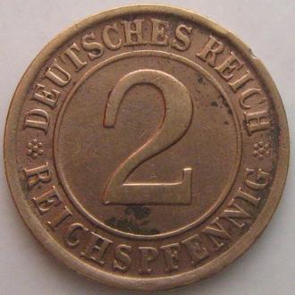 Германия 2 рейхспфеннига 1924 год (D)