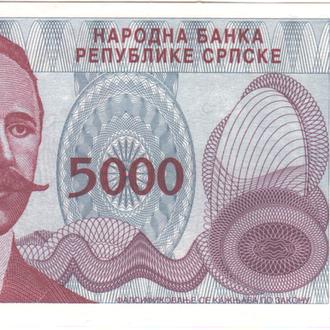 Босния и Герцеговина 5 000 динаров 1993г (Республика Сербская, Баня-Лука) в UNC из пачки