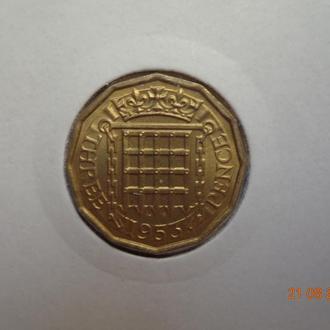 Великобритания 3 пенса 1953 Elizabeth II СУПЕР состояние редкая