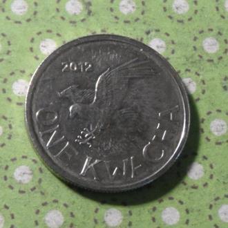 Малави 2012 год монета 1 квача птичка !