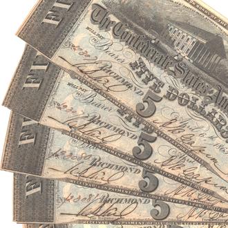 5 долларов Конфедератов 1863 г. в XF++
