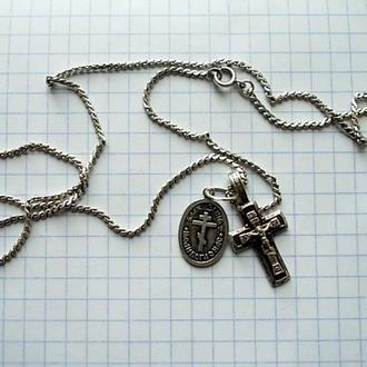 Крестик, ладанка, цепочка-серебро 925 пр.