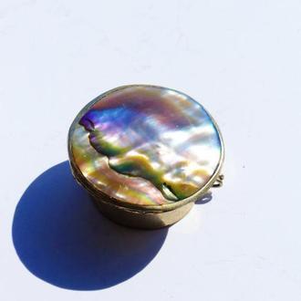 шкатулка  винтажная серебро 1940 - 1960-х МЕКСИКА -  - Vintage Alpaca Silver Trinket Box, Abalone