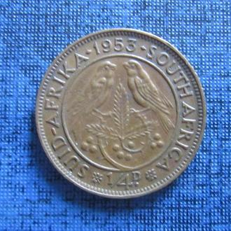 Монета фартинг 1/4 пенни ЮАР 1953