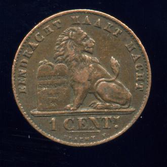 1 сентим / сантим 1907. Бельгия. DER BELGEN. Патина. Сохран