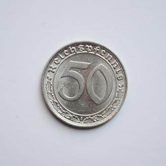 Германия 50 рейхспфеннигов 1939 г. F, UNC, 'Нацистская Германия (1933-1945)'