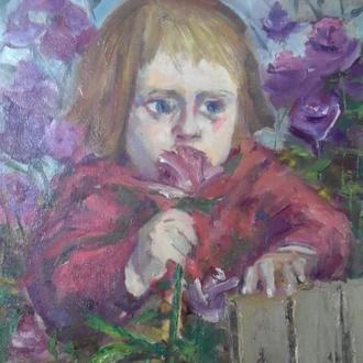 "К.Смелова. Картина ""Цветочек"", холст, масло,60х40"