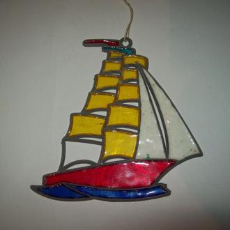 Ёлочная елочная игрушка панно витраж парусник СССР