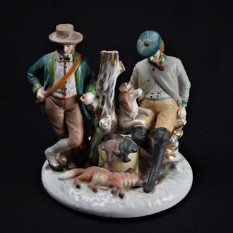 охота статуэтка фарфор охотник лиса собака