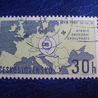 Чехословакия. Карта Европы и Справедливая эмблема