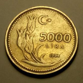 5000 лир 1994 года Турция !!! а2