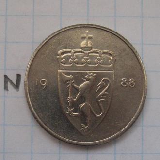 НОРВЕГИЯ, 50 эре 1988 года.