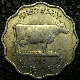 Гернси 3 пенса 1956 год   ОТЛИЧНАЯ!